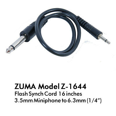 "ZUMA Flash Sync Cord 16 Inch Mono Miniphone 1/8"" (3.5mm) to Phono 1/4"" (6.3mm)"