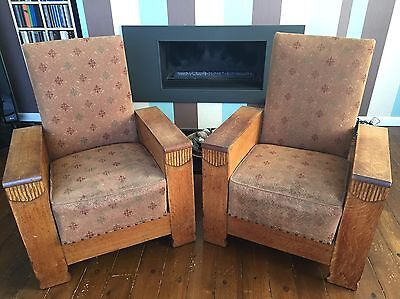 Pair Of Art Deco Reclining Library Chairs 1920's 1930's Original Condition
