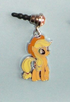 Cell Phone Anti Dust Plug Cover Rhinestone Dangle Charm Little Pony Apple Jack