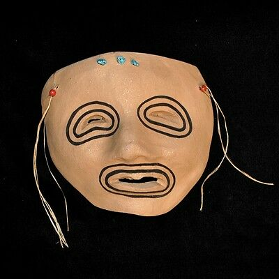 "Taos Pueblo Micaceous Clay Pottery Mask by Bernadette Track, 6.25""W"