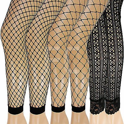 New Womens Ladies Fishnet Lacey Fence Whale Patterned Footless Pantyhose Tights
