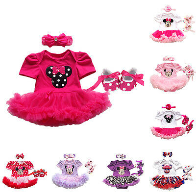 Newborn Baby Girls Outfits 3PCS Minnie Mouse Romper Bodysuit Dress Skull Clothes