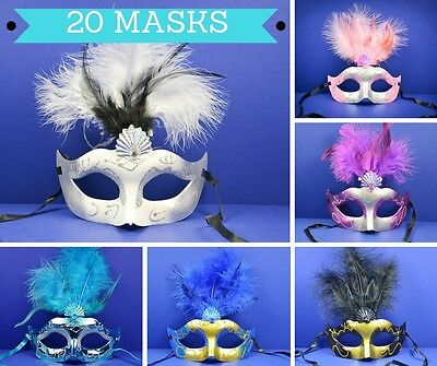 20 PC Mixed Mask Masquerade Mardi Gras Quince Birthday Costume Party Masks
