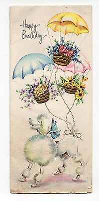 Vintage Sunshine Birthday Greeting Card White Poodle Dog Flower Baskets As Is