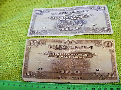 Lot of 2 diff. Japanese Occupation $100.00 Banknotes of Malaya in WWII.