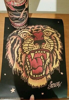"""2016 Sailor Jerry Spiced Rum Mini Print and Tin  """"Tiger"""" COLLECTIBLE!"""
