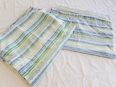 2 PB Teen Pottery Barn striped Pillow Cases Cotton Green Teal Blue Standard