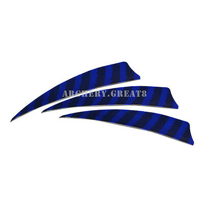 """100X 4"""" Shield Back Turkey Feathers Left Wing Striped Fletching Arrow Components"""