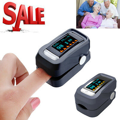 Fingertip Finger Blood Oxygen SPO2 Pulse Heart Rate Monitor Oximeter W/Bag Black