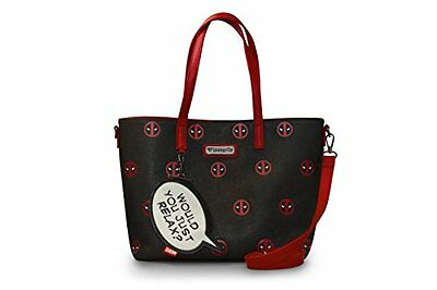 """NWT Loungefly Deadpool AOP """"Would You Just Relax?"""" Minimal Eyes Tote Bag"""