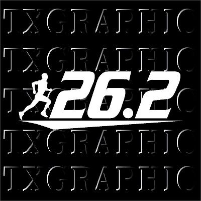 RUNNER MALE 26.2 Marathon Running Vinyl Decal Sticker B