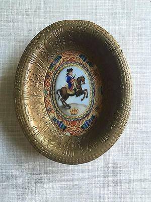 Antique Hand Painted Miniature Napoleon Bonapart Porcelain Bronze Pin Dish Bowl