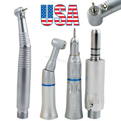 Dental High Low Speed Handpiece Kit Push Button E-type 2Hole 3Water LED Fit KAVO