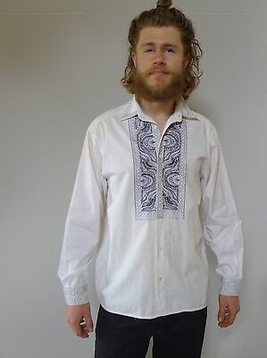 Vintage retro true 90s S white cotton embroidered shirt mens France Le Garage
