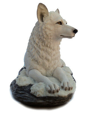 NEW White Shadow Wolf Figurine Statue Ornament Handpainted Collectable Sculpture