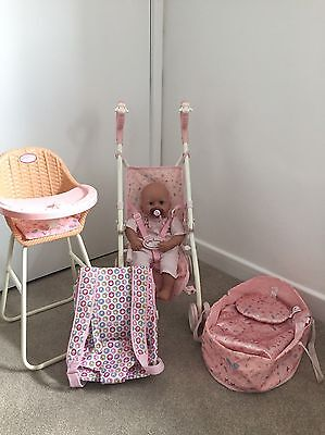 Baby Annabell Doll, Pushchair & Accessories Bundle Good Condition