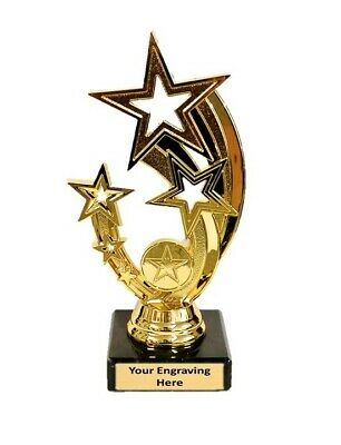 "Gold Rising Star Star Multisport, Dance Trophy,Award,178mm (7""),FREE Engraving"