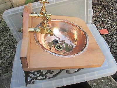 Antique Brass Taps Sink Basin Unit Stand Iron Brackets Architectural Reclaim Old