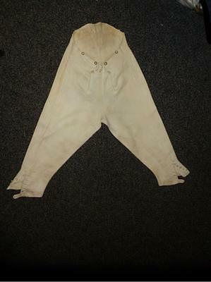 "Antique pair of White/Cream Buckskin Riding Breeches 27"" waist (WHITING LONDON)"