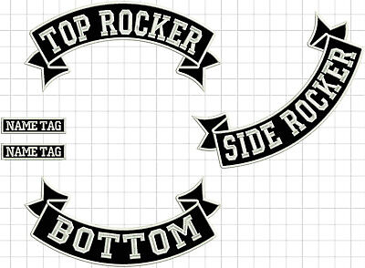 "CUSTOM 12"" ROCKER SET Motorcycle Patch: Top + Bottom + Side + tag large ribbons"