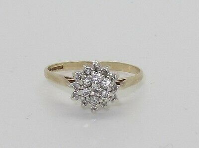 Fabulous Vintage 9ct Gold Diamond Cluster Ring