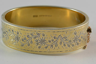 Beautiful Engraved Vintage Silver Bangle with Gold Wash