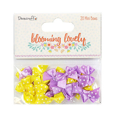 20 Blooming Lovely Lilac Yellow Mini Ribbon Bow Card Making Craft Embellishments