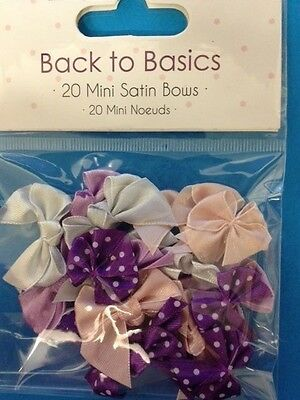 20 Dovecraft Berry Blush Mini Ribbon Bows Card Making Craft Embellishments