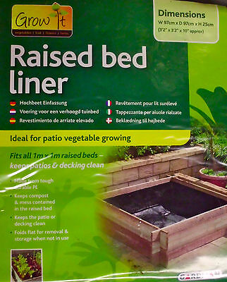 Gardman Raised Bed Liner Grow Herb  Planter  1m Square 25x97x97cm  PACK of  15
