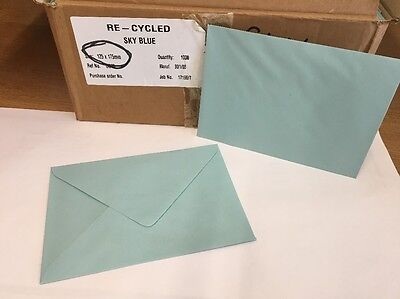 1000 125 X175mm Recycled Envelopes Sky Blue, Wedding/Party/Craft