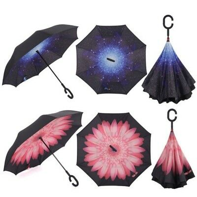 Windproof Double Layer Reverse Umbrella Upside Down Inverted Folding C Handle AU