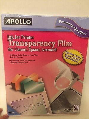 Apollo Ink Jet Printer Transparency Film New Sealed 50 Sheets 8.5x11