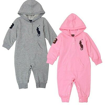 100% Cotton Fashion Hooded Polo Baby Rompers Newborn Baby Girls Boys Clothes Set