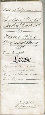 RARE Original SOUTHEND UNITED counterpart lease from 1927 for greyhound racing