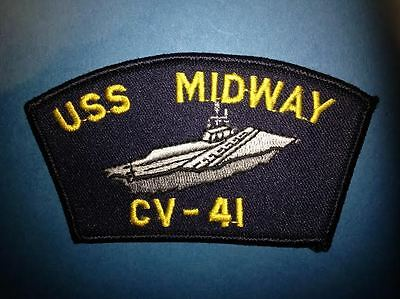 Vintage US Navy USS Midway CV-41 Aircraft Carrier Jacket Hat Patch Crest 004