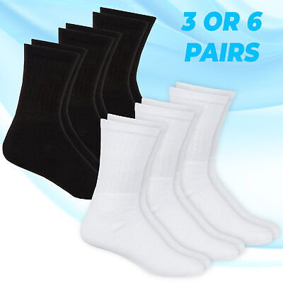Metzuyan Childrens Boys Sports Socks Plain School Cotton Rich 3 Pack 6 Pack