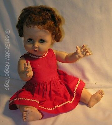 "1950s 17"" Uneeda? Baby Girl Doll Red Dress Drink Wet Sleep Eyes Rooted Hair"