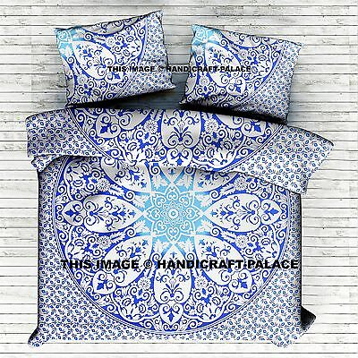 Ombre Mandala Blue Duvet Cover Queen Indian Quilt Cover Cotton Throw Doona Cover