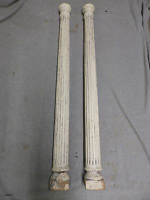 Pr Antique Round Fluted Fireplace Mantle Interior Columns Capitals Vtg 78-17R