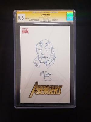 Avengers #1 CGC NM Signed Sketched Mike Mignola SS Abe Sapien Hellboy BPRD RARE!