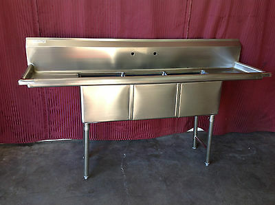 NEW 3 Compartment Sink 18X18 Bowl NSF Stainless Steel Drains Restaurant #1147
