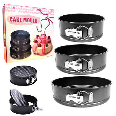Set Of 3 Round Cake Tin Set Non Stick Spring Form Loose Base Baking Pan Tray