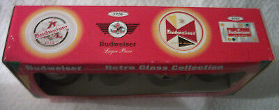 Budweiser Retro Beer Glass Collection 4 Designs 16 oz Pub Glasses
