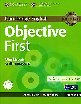OBJECTIVE FIRST WORKBOOK w Answers & Audio CD 4th Edition for Exam from 2015 NEW