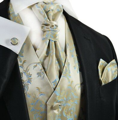 Formal Gold and Blue Men's Tuxedo Vest, Tie and Accessories by Paul Malone