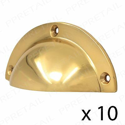 10 x SOLID BRASS 90mm CUP PULL HANDLE Cabinet Cupboard Dresser Drawer Door Shell