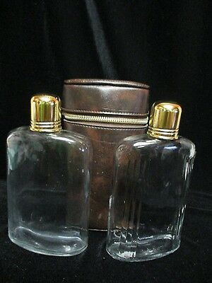 Vintage Travel 2 Flasks Decanters Glass With Leather Case