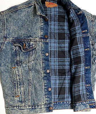 vtg Levi's BLUE DENIM Black Plaid Flannel Lined Jacket S 80s jean trucker 70417