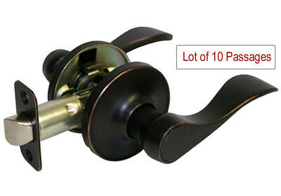 Lot of 10 Dark Oil Rubbed Bronze Passage Door Knob Lever (Hallway & Closetset)