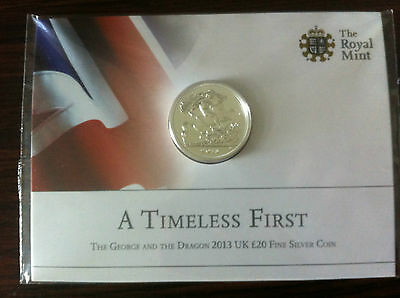 A Timeless First (2013) - George & Dragon £20 Fine Silver Coin - MINT
